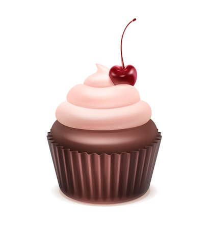 Vector Cupcake with pink whipped cream and cherry close up isolated on white background Ilustración de vector