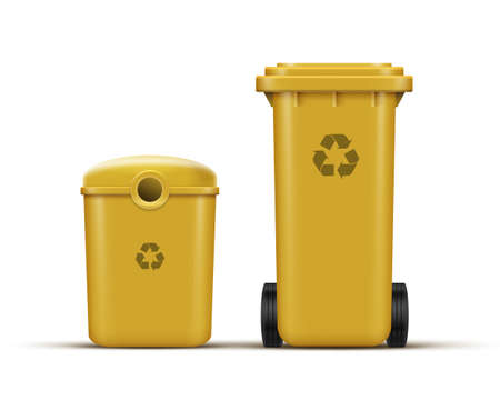 Vector set of yellow recycle bins for plastic waste sorting