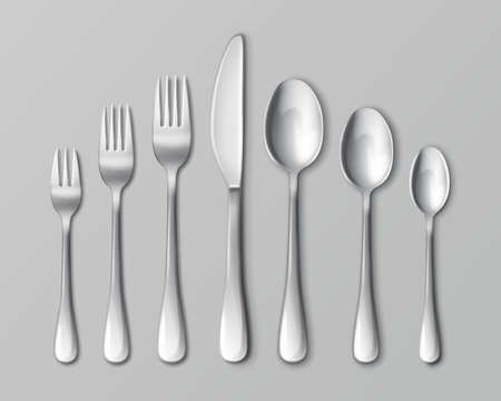 Vector set of silverware or flatware, top view. Isolated on gray background