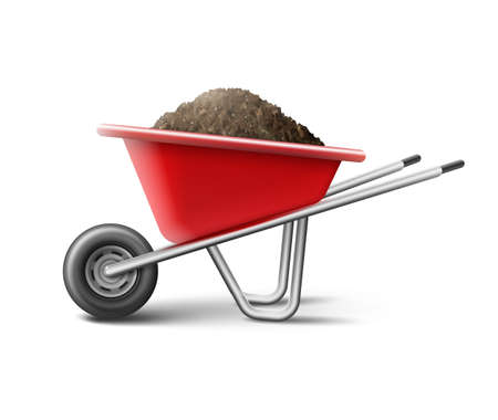 Vector illustration of a red wheelbarrow for gardening full of soil isolated on white background Vettoriali