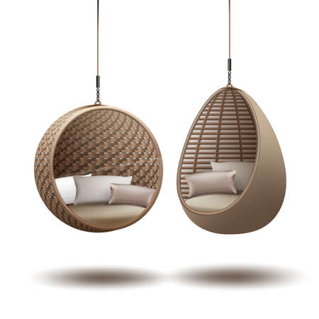 Vector wicker hanging chairs swing hanging on a chain with cushions on white background