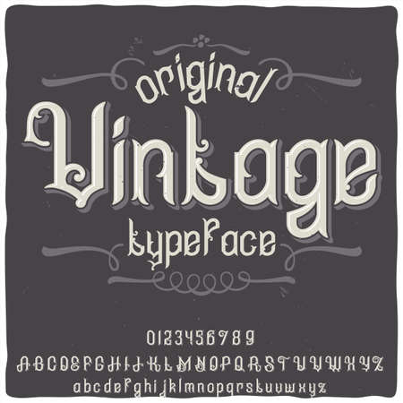 """Original label typeface named """"Vintage"""". Good handcrafted font for any label design."""
