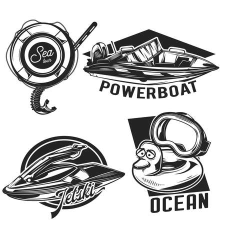 Set of diving emblems, labels, badges, logos. Isolated on white