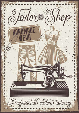 Poster design with illustration of a pants, mannequin and sewing machine on vintage background. Vecteurs