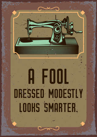 Poster design with illustration of a sewing machine on vintage background.