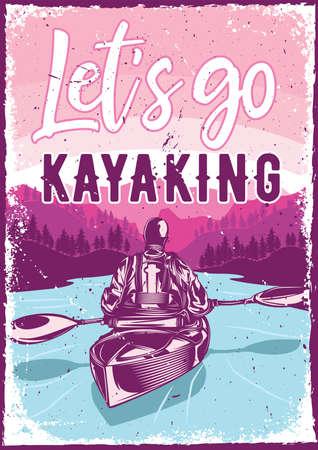 let`s go kayaking flyer vector illustration