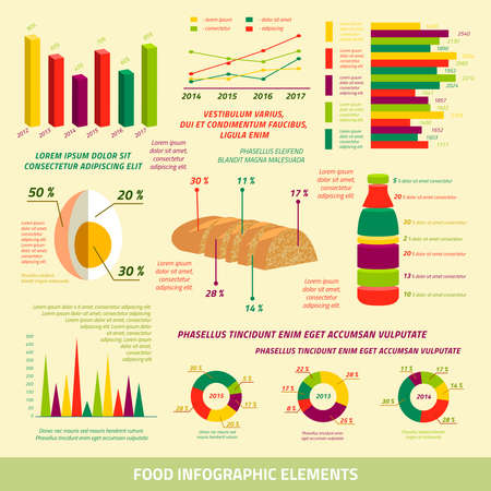 Food infographics flat design elements of farming charts and graphs vector illustration