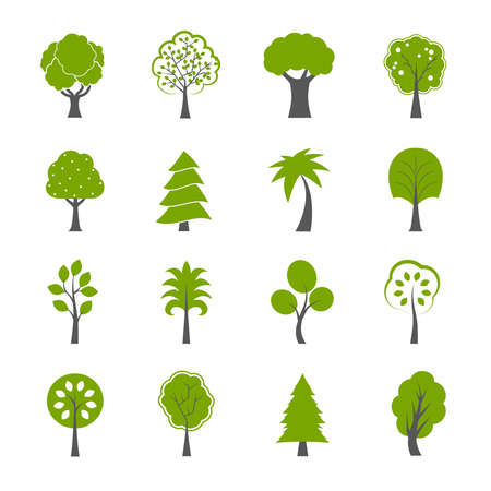 Collection of natural green trees icons set pine fir oak and other trees isolated vector illustration