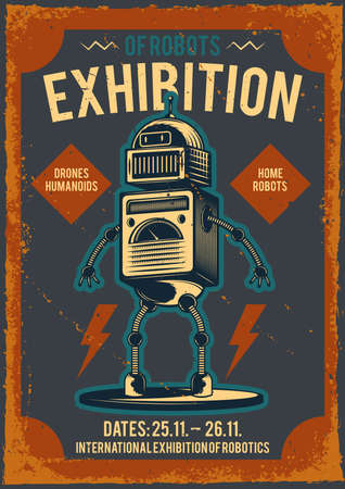 Advertising poster with illustration of a robot.