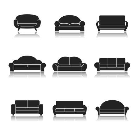 Sofa couches modern furniture interior design icons black set isolated illustration