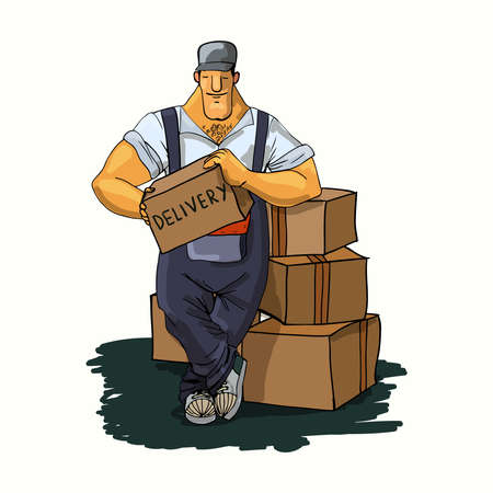 Strong delivery moving service working man with cardboard boxes print vector illustration