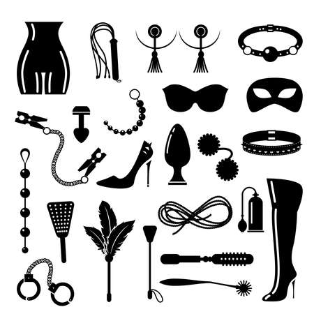BDSM icons set. BDSM signs or and discipline, domination symbols vector. Accessories fot game and adult toy collar and dildo rubber for illustration