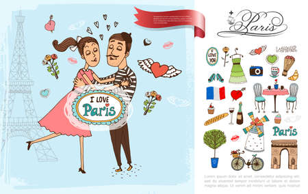Sketch Paris elements concept with couple in love Eiffel Tower windmill Triumphal Arch bicycle french food flowers camera France flag wine bottle vector illustration