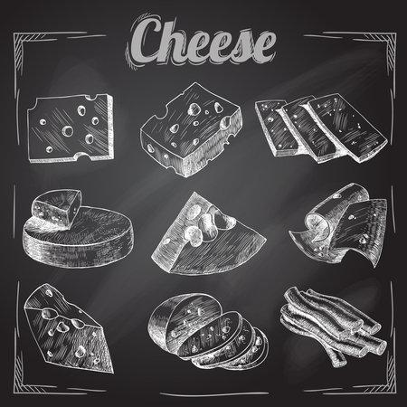 Chalk board cut sliced cheese assortment decorative icons set vector illustration Vetores