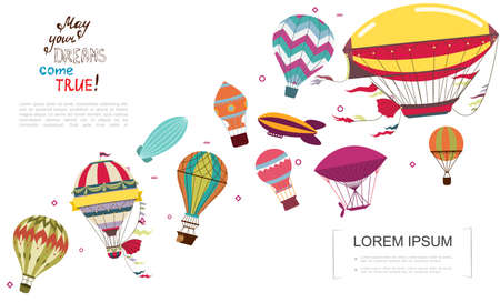Flat obsolete air transportation concept with airships and colorful hot air balloons vector illustration