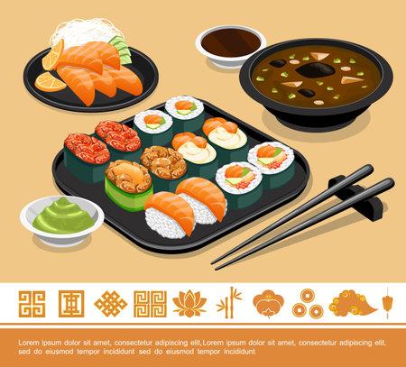 Flat traditional japanese food template with sushi sashimi miso soup wasabi soy sauce and chopsticks vector illustration Ilustração Vetorial