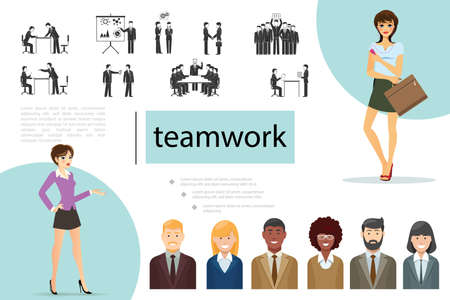 Flat teamwork composition with business people of different ethnicity elegant businesswomen and businessmen in various situations vector illustration