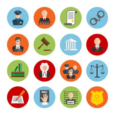 Law legal justice judge and legislation flat icons set isolated vector illustration