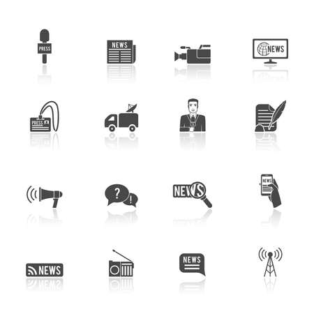 Press news broadcasting newspaper reporter microphone and computer chat bubble design graphic isolated illustration icons set