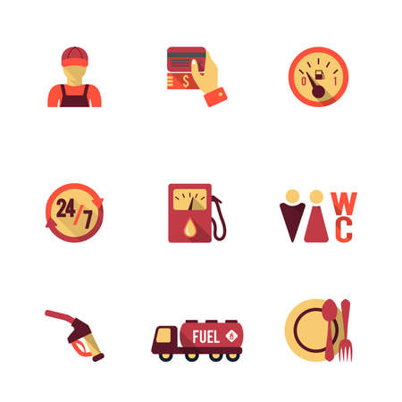 Gas petrol fuel pay at the pump 24h availability station icons set flat isolated abstract vector illustration