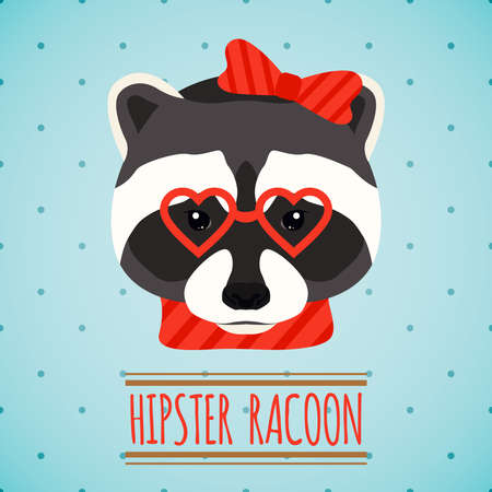 Animal raccoon with glasses and bow hipster character portrait vector illustration