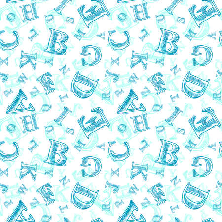 Sketch hand drawn alphabet blue pen font letters seamless pattern vector illustration Illustration