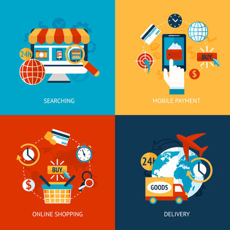 Business concept flat icons set of online shopping internet purchase and delivery infographic design elements vector illustration Vetores