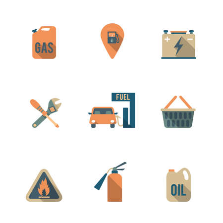 Gas fueling pump electric car charging station mechanic repair service icons set flat isolated abstract vector illustration