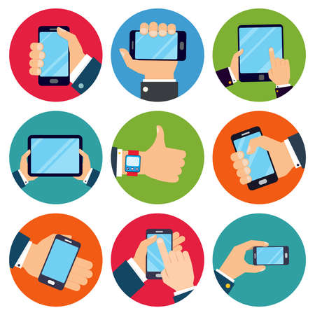 Human hands set holding mobile phones and tablet devices isolated vector illustration