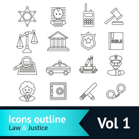 Law and justice business icons set of police court lawyer judge vector illustration