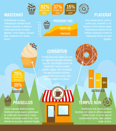 Food sweet  desserts bakery with donut cupcake and charts infographic vector illustration.