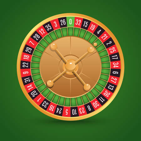 Realistic casino roulette isolated on green background vector illustration