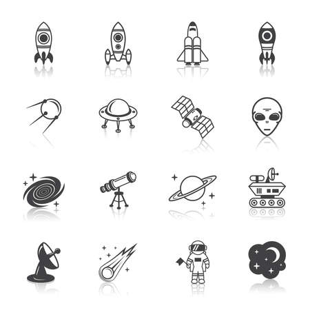 Space line icons set of shuttle astronaut alien and comet vector illustration