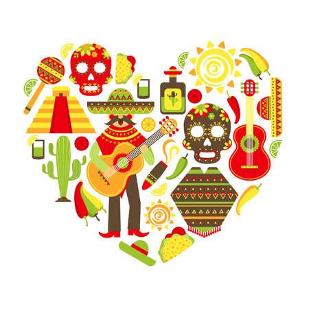 Mexico travel traditional symbols decorative icon set in heart shape vector illustration Ilustración de vector