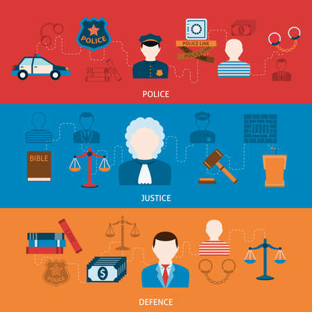 Crime police investigation judgment punishment and imprisonment symbols infographics elements flat horizontal banners set abstract vector illustration