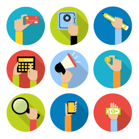 Business human hands with money coin and paper cash safe credit card icons set isolated vector illustration