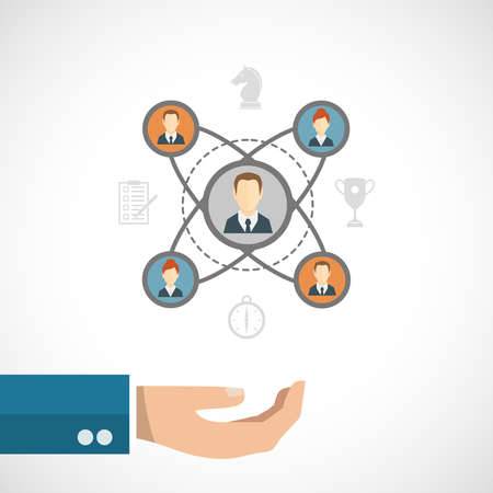 Connected people concept with businessman hand and social network elements set vector illustration