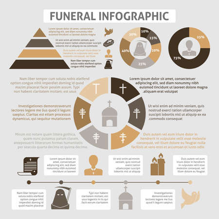 Funeral homes undertaking ceremonial service development infographics diagrams report table with chistian church burial symbols vector illustration