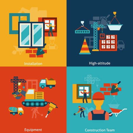 Buildings construction installation equipment work at heights team flat icons infographic composition vector isolated illustration