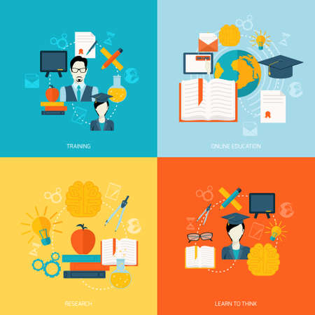 Education school university online flat icons set with training research learn to think isolated vector illustration