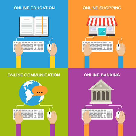 Online service concepts flat icons set of education shopping communication banking isolated vector illustration Vettoriali