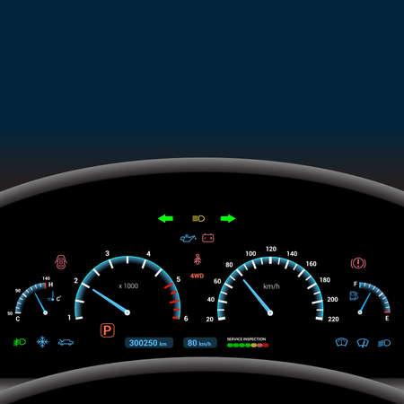 Car dashboard modern automobile control illuminated panel speed display illustration