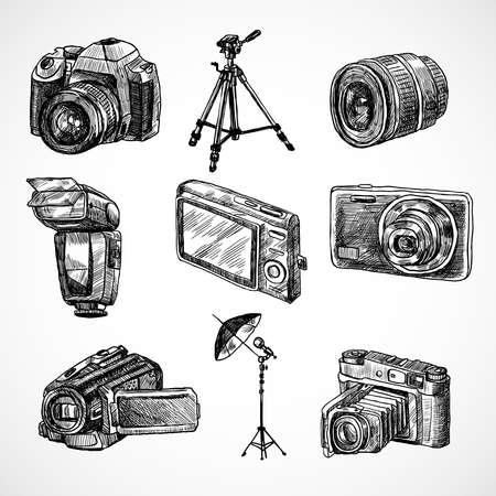 Photo camera digital technology studio equipment hand drawn set isolated vector illustration Ilustración de vector