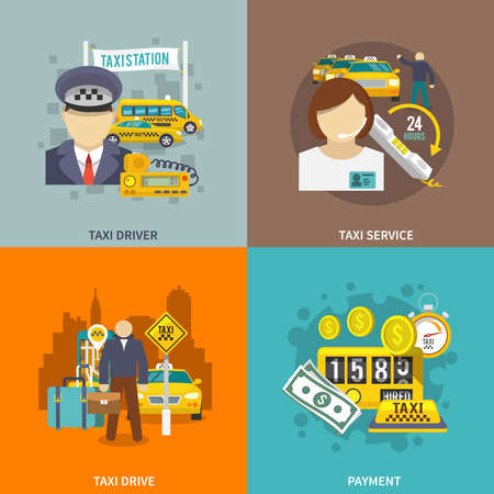 Taxi flat icons set with driver service drive payment isolated vector illustration.