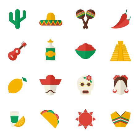 Mexico travel symbols flat icon set with cactus sombrero maraca chili pepper isolated vector illustration Ilustración de vector