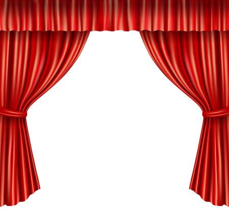 Theater stage red velvet open retro style curtain isolated on white background vector illustration Vektorgrafik
