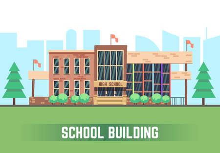 School building. Vector flat education concept. College construction urban illustration