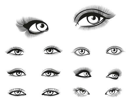Vector woman eyes set. Eye woman, girl eye beauty, makeup eye illustration