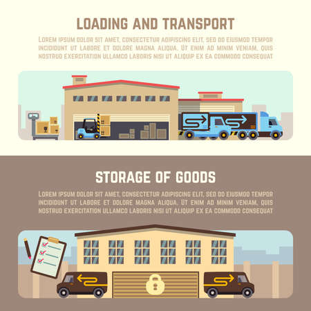 Warehouse horizontal vector banners. Warehouse business, warehouse delivery, warehouse illustration