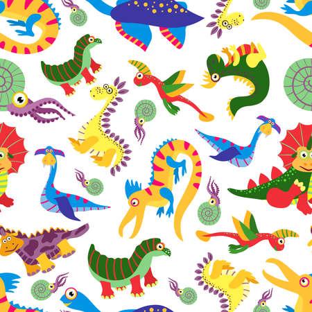 Cute baby dinosaurus pattern. Dinosaur cartoon jurassic predator vector. Children background with colored dinosaurs illustration Vecteurs